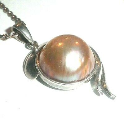 $176 • Buy Large Mabe Pearl Pendant Necklace Sterling Silver Setting 1.7  Long 6g NICE