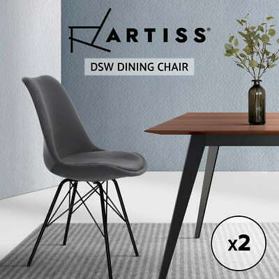 AU115.95 • Buy Artiss Dining Chairs Kitchen Chair DSW Velvet Fabric Padded Grey Cafe X2