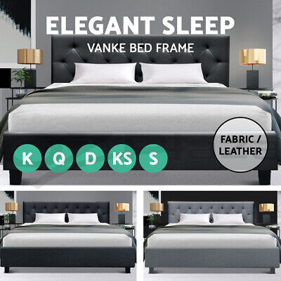 AU105.95 • Buy Bed Frame Queen Double King Single Full Size Mattress Base Fabric Wooden Vanke