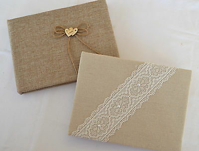 Beautiful Country Style Wedding Guest Book Hessian Linen Lace Pearls Or Hearts • 10.95£