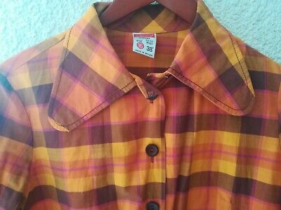 Vtg 60s 70s Mod Plaid Dress Shirt Skingirl Suedehed  Penny Collar • 35£