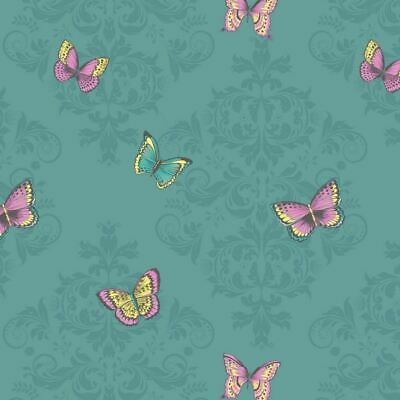 Glitter Butterfly Damask Wallpaper Sparkle Teal Pink Yellow Floral Holden Decor • 7.95£