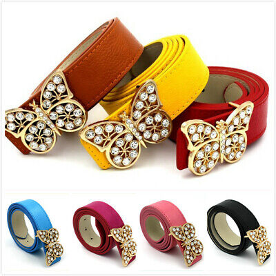 Girls Ladies Women Butterfly Diamante Crystal Buckle Waist Band Leather Belt • 3.99£