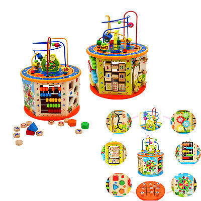 £29.90 • Buy Wooden Activity Cube 8 In 1 Baby Bead Maze Toys Gift Educational Early Learning