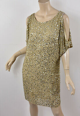 $39.99 • Buy AIDAN MATTOX Gold Beaded Sequined Nude Silk Cold Shoulder Shift Party Dress 2 XS