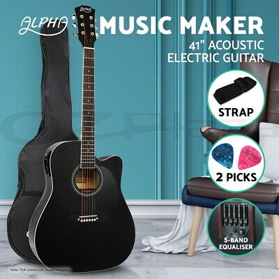 "AU99.90 • Buy Alpha 41"" Inch Electric Acoustic Guitar Wooden Classical Full Size EQ Bass Black"