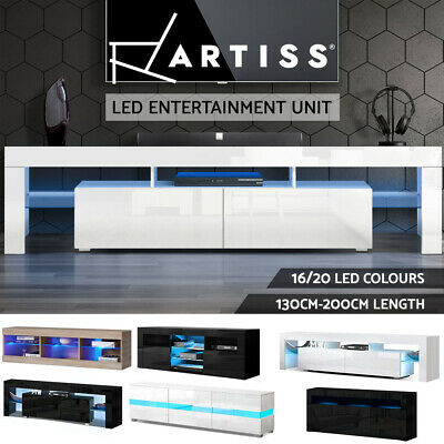 AU139.95 • Buy Artiss TV Cabinet Entertainment Unit Stand RGB LED Gloss Furniture Wood Storage