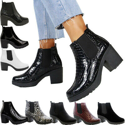 Womens Block Chunky Heels Platform Ladies Chelsea Ankle Boots Office Shoes Size • 14.95£