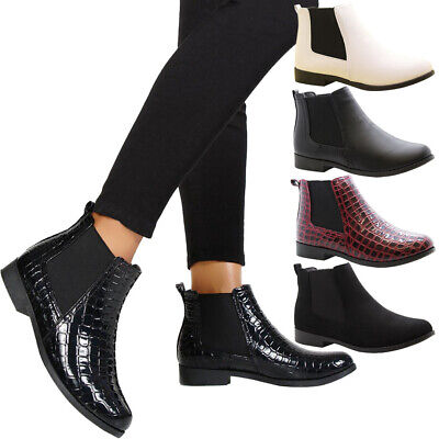 Womens Work Flats Block Heels Girls School Shoes Ladies Chelsea Ankle Boots Size • 14.95£
