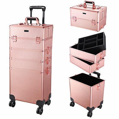 Aluminum 4 In1 Rolling Makeup Train Case Organizer Professional Cosmetic Trolley • 142.98$