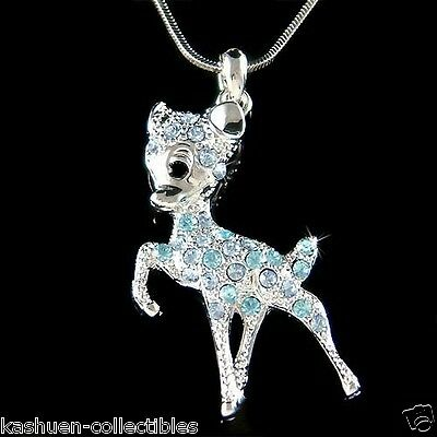 £31.55 • Buy Blue BAMBI DEER Made With Swarovski Crystal Fawn Necklace Cute Xmas Jewelry New