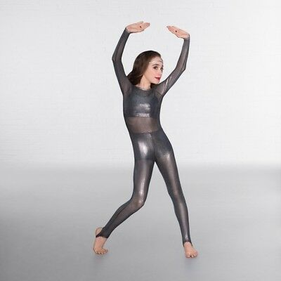1st Position Metallic Mesh Dance Catsuit With Shorts & Separate Crop Top • 52.99£
