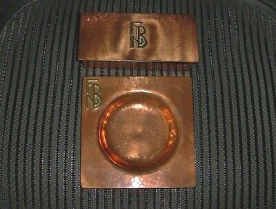 Elegant ARTS CRAFTS Signed AKB COPPER 4 Section BOX And ASHTRAY Hand Crafted SET • 465.12£