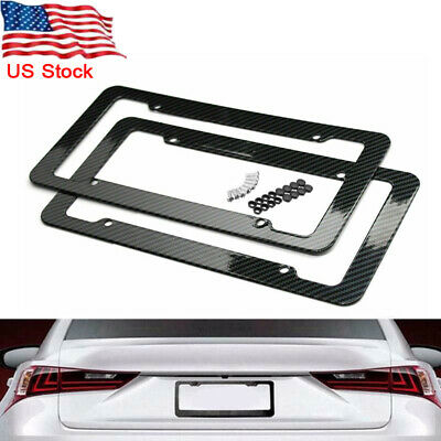 $13.56 • Buy 2pcs Car Carbon Fiber Black Front Rear License Plate Frame Cover With Screws US