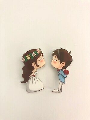 Cute Couples Mr Mrs Bride Groom Wedding Dress Gift Quirky Kitsch Acrylic Brooch • 6.38£