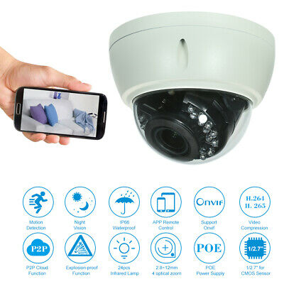 5MP 2.8-12mm 4X Zoom Dome CCTV POE IP Camera Night Vision H.264 Security X4A9 • 45.99£