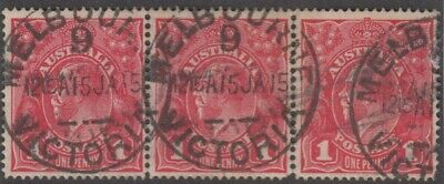 AU12 • Buy Postmark 1915 Melbourne No9 Victoria Strip Of 3 X 1d Red KGV Stamps