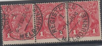 AU60 • Buy Postmark 1914 Melbourne No1 Victoria Strip Of 1d Red KGV Stamps  Date Error