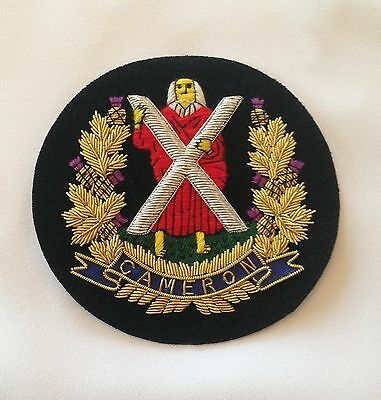 Cameron Highlanders Blazer Badge, Wire Embroidered, Army, Jacket, Military • 12£