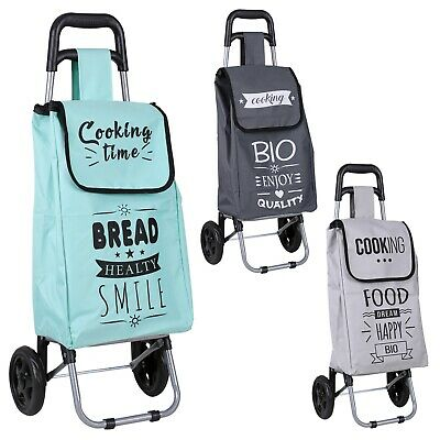 25L Fabric Shopping Trolley Colourful Folding Wheelie Cart With Handle Groceries • 12.99£