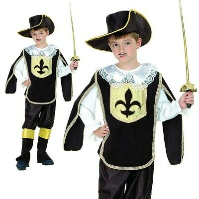Musketeer Costume Boys French Cavalier Book Week Day Fancy Dress Outfit Child • 13.49£