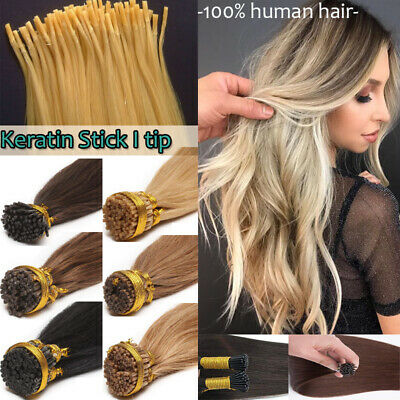 $24.28 • Buy Fusion Keratin I Tip Stick Pre-bonded Glossy 100% Remy Human Hair Extensions L6