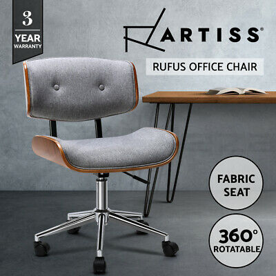 AU104.95 • Buy Artiss Executive Wooden Office Chair Fabric Computer Chairs Bentwood Seat Grey