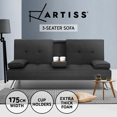 AU349.95 • Buy Artiss Sofa Bed Lounge Futon Couch Beds 3 Seater Fabric Cup Holder Dark Grey