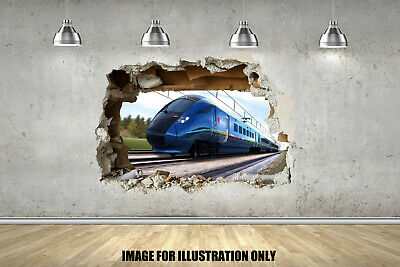 Bullet Train 3D Smash Childrens Wall Stickers Bedroom Decal Wall Art 4 Sizes • 15.99£