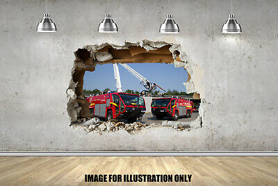 £3.99 • Buy Fire Engines 3D Smash Childrens Wall Stickers Bedroom Decal Wall Art 4 Sizes