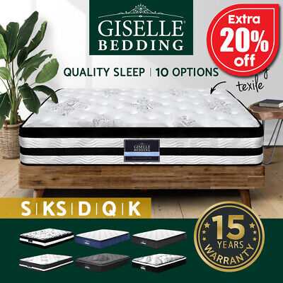 AU319 • Buy Giselle Mattress Queen Double King Single Bed Full Size Memory Foam Firm Spring