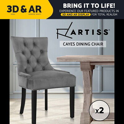 AU256.95 • Buy Artiss 2x Dining Chairs French Provincial Retro Chair Wooden Velvet Fabric Grey