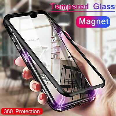 $4.99 • Buy 360° Full Magnetic Adsorption Flip Metal Frame Tempered Glass Phone Case Cover