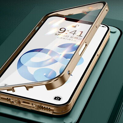 $ CDN6.56 • Buy 360° Magnetic Adsorption Flip Metal Frame Tempered Glass Hybrid Phone Case Cover
