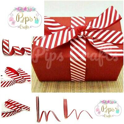 £1.85 • Buy Candy Cane Stripe Ribbon 6 Widths - 3m & Full Rolls Christmas Crafts Wrapping