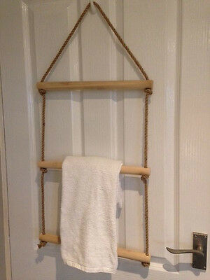 Hanging Rope Ladder Towel Rail - Choose Your Colour & Size • 15.99£