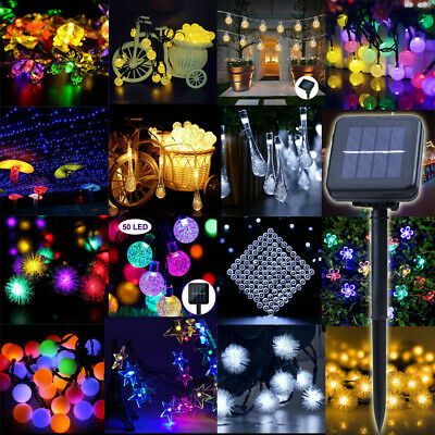 Solar Power Fairy LED Light String Strip Outdoor Battery Copper Wire Room Decor • 8.76$