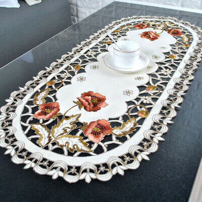 £4.48 • Buy Oval Embroidered Tablecloth Flower Hollow Coffee Table Cloth Doily Satin Cover