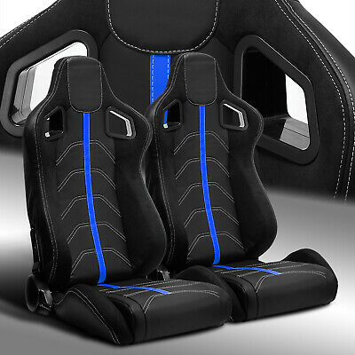 $289.69 • Buy 2 X Reclinable PVC Leather/Blue Strip Left/Right Racing Bucket Seats Slider