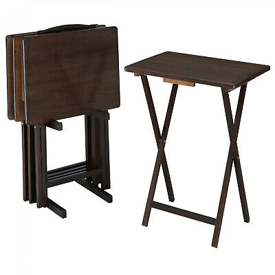 $53.87 • Buy 5 Piece Folding Wood TV Tray Table Set For Breakfast Lunch Snack With Stand New