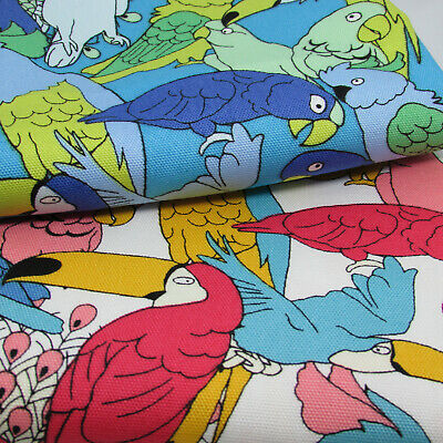 Parrots Printed On 100% Oxford Cotton Fabric By Sevenberry - Japanese  • 4.10£