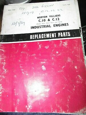 Norton Villiers C10 / C,12 Industrial Engines Replacement Parts Book 1968... • 9.99£