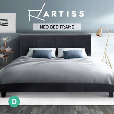 AU169.95 • Buy Artiss Bed Frame Double Size Base Mattress Platform Fabric Wooden Charcoal NEO