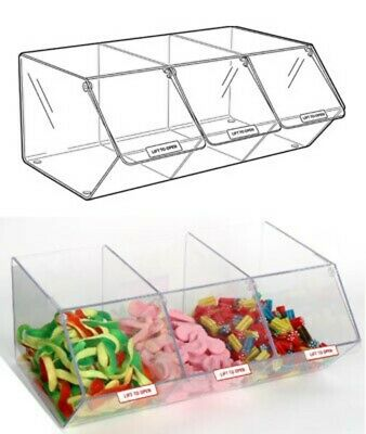 PM9712 - Pick & Mix Dispenser For Unwrapped Sweets: 3 Section - 495mm (W) X 200m • 68.20£