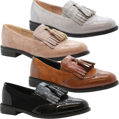 Womens Flats Brogue Loafers Patent Tassels Office Pumps Ladies School Shoes Size • 13.95£