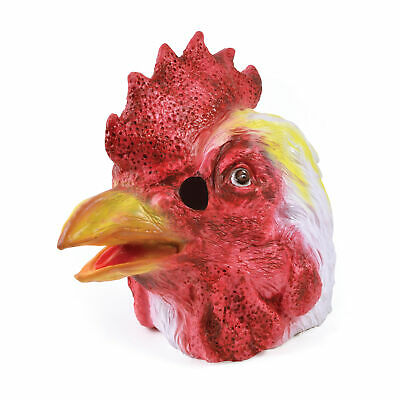 Mens Chicken Mask Hen Rooster Easter Mens Ladies Fancy Dress Costume Accessory • 13.99£