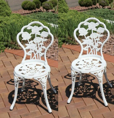 Vintage Garden Chairs French Style Furniture Metal Bistro Patio Cast Iron Set 2  • 109.90£