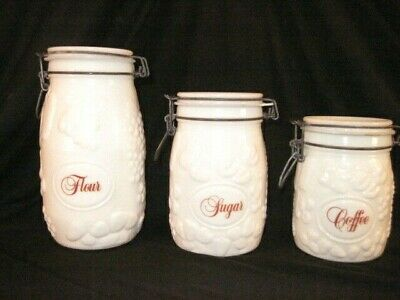 $30 • Buy 3 Vintage Wheaton White Milk Glass Canisters Embossed Fruit - Excellent!
