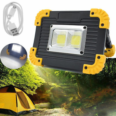 USB Rechargeable LED COB Work Light Camping Security Floodlight Emergency Lamp • 8.40£