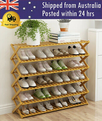 AU49.95 • Buy 3/4/5/6 Layers Bamboo Shoe Rack Storage Organizer Wooden Household Stand Shelves